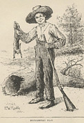 Huckleberry Finn Framed Prints - Huckleberry Finn Illustration Framed Print by