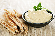 Spread Photo Framed Prints - Hummus with pita bread Framed Print by Elena Elisseeva