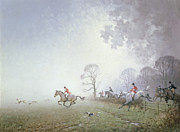 White Dogs Posters - Hunting Scene Poster by Ninetta Butterworth