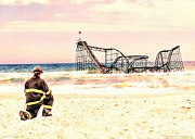 Jetstar Roller Coaster Photographs Framed Prints - Hurricane Sandy Fireman Framed Print by Jessica Cirz