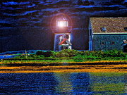 Nightlight Framed Prints - Hyannis Port Lighthouse Framed Print by Annie Zeno