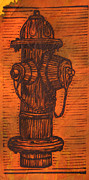 Linocut Framed Prints - Hydrant Framed Print by William Cauthern
