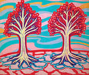 Roots Pastels Posters - Ice Cream Trees Poster by Mike Manzi
