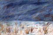 Kansas Artist Pastels Framed Prints - Icy Kansas Field Framed Print by Tod Estes