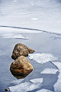 White River Photos - Icy shore in winter by Elena Elisseeva