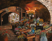 Flower Painting Framed Prints - Il Mercato Dei Fiori Framed Print by Guido Borelli