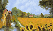 Road Painting Framed Prints - Il Mulino E I Girasoli Framed Print by Guido Borelli