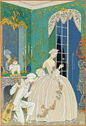Evening Dress Painting Framed Prints - Illustration for Fetes Galantes Framed Print by Georges Barbier