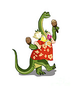 Holding Flower Digital Art Posters - Illustration Of A Brontosaurus Playing Poster by Stocktrek Images
