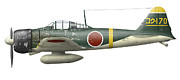 Scheme Framed Prints - Illustration Of A Mitsubishi A6m2 Zero Framed Print by Inkworm