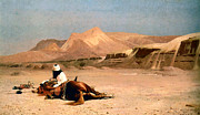 Horse Images Framed Prints - In the Desert Framed Print by Jean-Leon Gerome