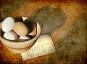 Eggs Digital Art Posters - In The Kitchen Poster by Karen  Burns