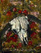 Steer Paintings - In The Rose Garden by Donna Vesely