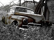 Rusted Cars Prints - In The Weeds Print by Chad Thompson