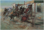 Horsemen Prints - In Without Knocking Print by Charles M Russell