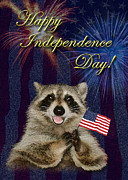 Wildlife Celebration Digital Art - Independence Day Raccoon by Jeanette K