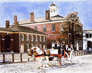 Independence Hall Digital Art Prints - Independence Hall Carriage  Print by Barbara Hammond