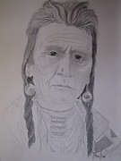 Americans Drawings - Indian Chief by BD Nowlin