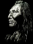 Fine American Art Drawings Posters - Indian Warrior Poster by Mike Grubb