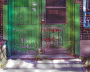 Abandoned  Digital Art - Industrial Green Door by Marsha Charlebois