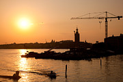 Industry Art - Industrial harbor at sunset and a crane by Michal Bednarek