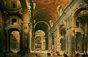Halls Posters - Interior of St Peters in Rome Poster by Giovanni Paolo Panini