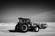Conditions Framed Prints - international 5140 tractor with front end loader on frozen field Forget Saskatchewan Canada Framed Print by Joe Fox