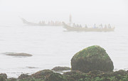 Fog At Sea Prints - Intertribal Canoe Journey Print by Walter Klockers