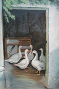 Bird Prints Paintings - Irish Ducks Pastel by Melinda Saminski