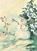 Button Nose Prints - Irish Snowman Print by Glenn Farrell