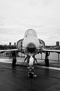 Manhaten Prints - Israel Aircraft Industries Kfir on disply on the flight deck at the Intrepid Sea Air Space Museum  Print by Joe Fox