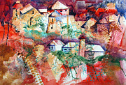 Village Pastels Prints - Italian Village Print by Randy Ross