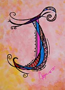 Angel Mermaids Ocean  Art - J Monogram by Joyce Auteri