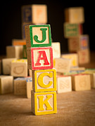 Wooden Blocks Framed Prints - JACK - Alphabet Blocks Framed Print by Edward Fielding