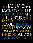 Subway Art Framed Prints Digital Art - Jacksonville Jaguars by Jaime Friedman
