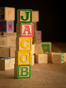 Jacob Posters - JACOB - Alphabet Blocks Poster by Edward Fielding