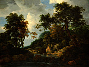 High Society Posters - Jacob van Ruisdael The Forest Stream Poster by MotionAge Art and Design - Ahmet Asar