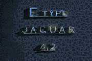 Jaguar E Type Classic Car Paintings - Jaguar E Type 4.2 logo by George Atsametakis