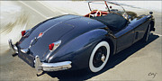 Curt Johnson Art - Jaguar XK 140 White Walls by Curt Johnson