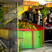 Yellow And Red Framed Prints - Jamaican Fruit Stand Framed Print by Ann Powell