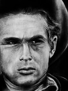 Charcoal Portrait Posters - James Dean Poster by Sheena Pike