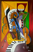 Cubism Art Framed Prints - Jammin With JC Framed Print by Brien Cole