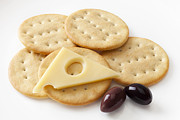 Cheese Photo Posters - Jarlsberg Cheese and Crackers Poster by Colin and Linda McKie