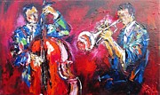See You Painting Framed Prints - Jazz Duo Framed Print by Mary Cahalan Lee