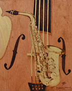 Double Bass Pyrography Framed Prints - Jazz is the Color Framed Print by Laurisa Borlovan