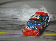 Jeff Mixed Media - Jeff Gordon Victory Burnout by Paul Kuras