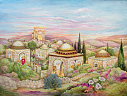 Jerusalem Painting Metal Prints - Jerusalem Landscape Metal Print by Michoel Muchnik