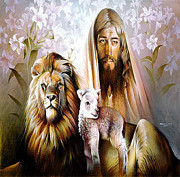 Lion Lamb Posters - Jesus Christ Lion and Lamb Poster by Javier V Sanchez