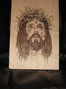 Portrait Pyrography Framed Prints - Jesus Crucifixion Framed Print by N Gardner