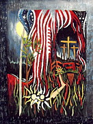 Christian Artwork Painting Originals - Jesus Saves in the USA by Eric Dru Stephenz Drury